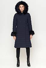 Удлиненная женская куртка Braggart Kiro Tokao на зиму с меховой опушки на молнии синяя размер 50 52 54 56 58, фото 3