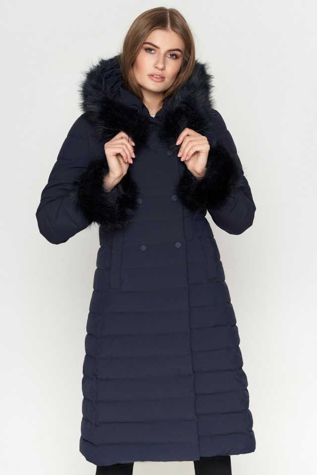 Удлиненная женская куртка Braggart Kiro Tokao на зиму с меховой опушки на молнии синяя размер 50 52 54 56 58