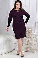"""Прекрасное женское платье с V-образным вырезом ткань """"Кукуруза+Бархат"""" 50, 56 размер батал"""
