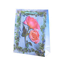 Пакет голубой с розами, 23х18х7,5