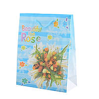 Пакет подарунковий 23х18х7,5 см в смужку Beautiful The Rose блакитний (42301.019)