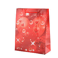 Пакет красный с розами и сердцем, 23х18х7,5