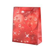Пакет подарочный 23х18х7,5 см красный с розами и сердцем (42301.020)