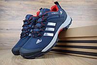 Мужские зимние кроссовки в стиле Adidas Climaproof низкие синие с красным