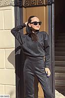 Женский спортивный костюм черного цвета. Прогулочный замшевый костюм для стильных девушек