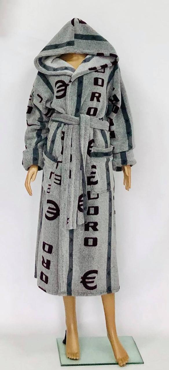 Махровый халат мужской с капюшоном