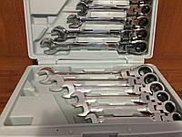 ✔️ Рожково - накидные ключи с трещоткой на кардане - 12 шт LEX 1578 | Ключи 8 - 19