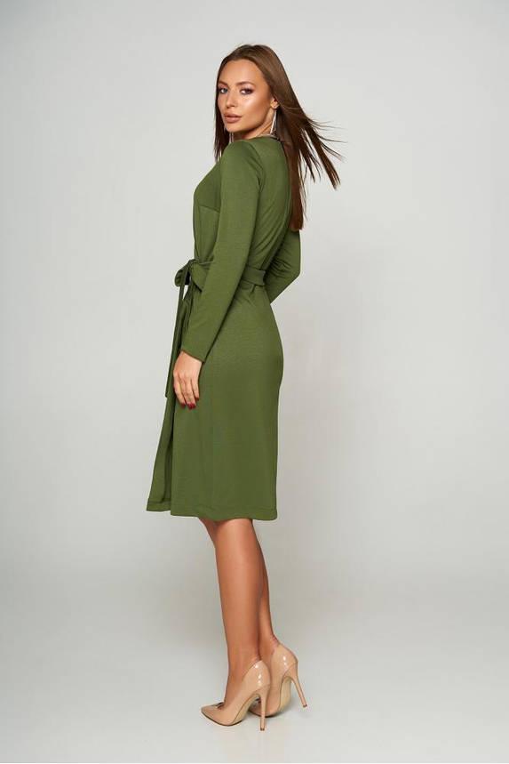 Теплое шерстяное платье с запахом цвета хаки, фото 2