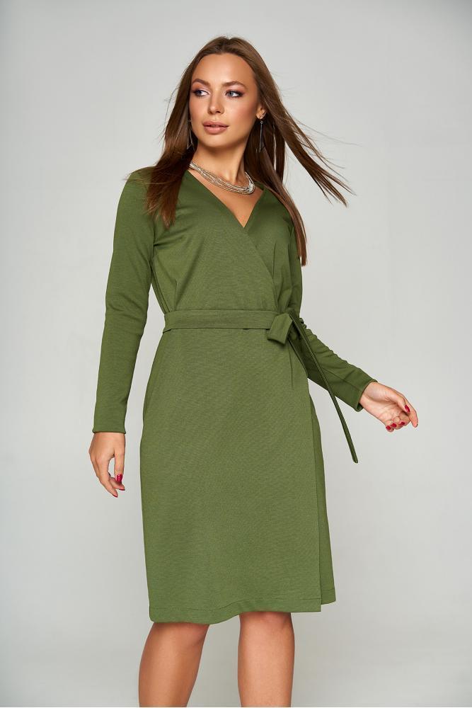 Теплое шерстяное платье с запахом цвета хаки