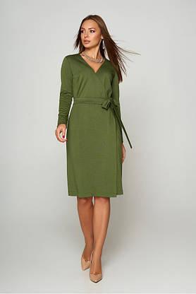 Теплое шерстяное платье с запахом цвета хаки, фото 3