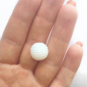 Волнистая 15мм (белая) круглая, силиконовая бусина