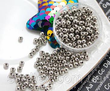 (20 грамм) Жемчуг бусины шар, Ø4мм (прим. 570 шт) Цвет - Серебро