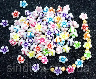 """(20 грамм) Пластиковые бусины 10х7мм """"Цветочки"""" (прим. 65 шт) Цвета - Микс"""