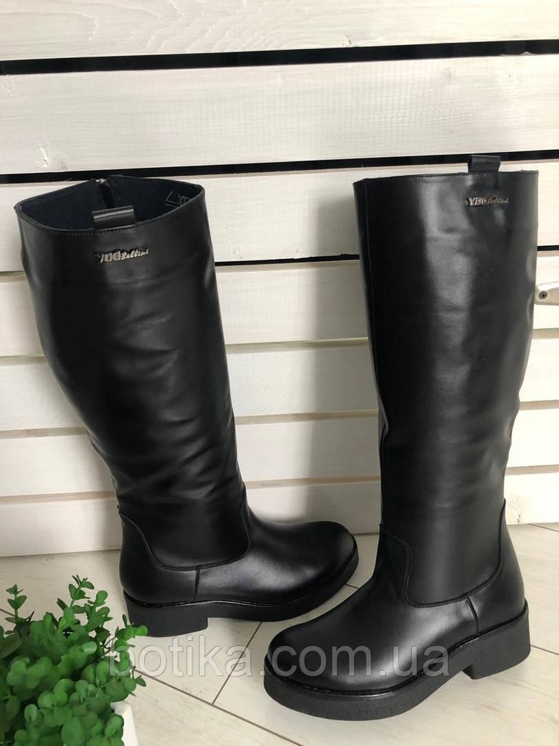 Комфортные зимние сапоги женские кожаные черные
