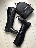 Комфортные зимние сапоги женские кожаные черные, фото 3