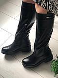 Комфортные зимние сапоги женские кожаные черные, фото 2
