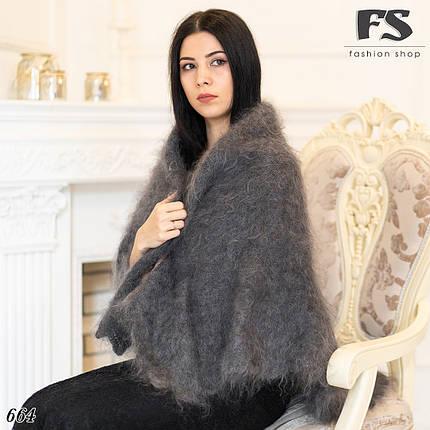 Оренбургский серый пуховой платок Джамалия 110 см, фото 2