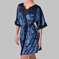 Халат женский мраморный велюр M-7070 темно-синий