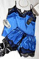 Женская пижама атлас-шелк с кружевом,одежда для сна