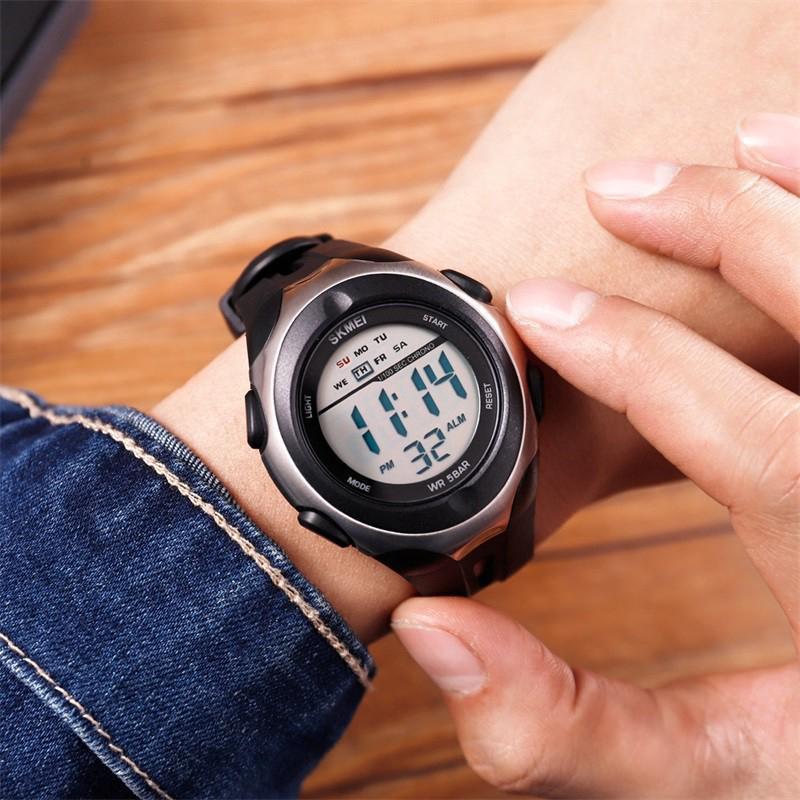 Skmei 1492 черные с  серебристым кантом мужские спортивные часы