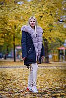 Крутая женская парка, зимняя с мехом песца