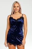 Жіноча піжама велюрова Рози однотонный (синий)