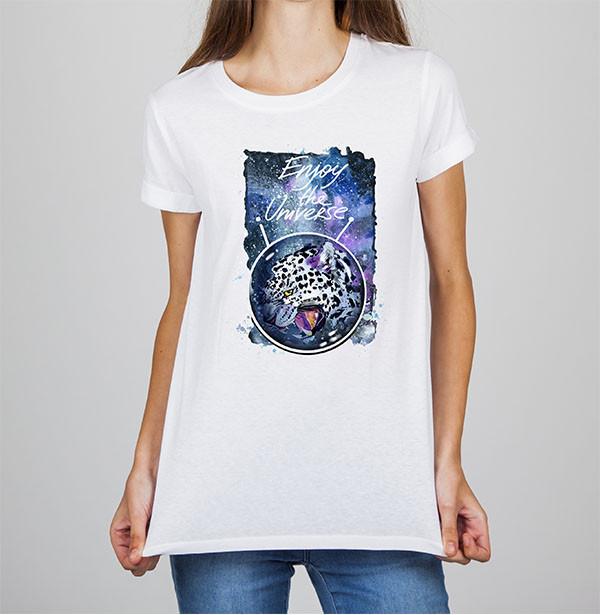 """Женская футболка Push IT с принтом Леопард """"Enjoy the Universe"""""""