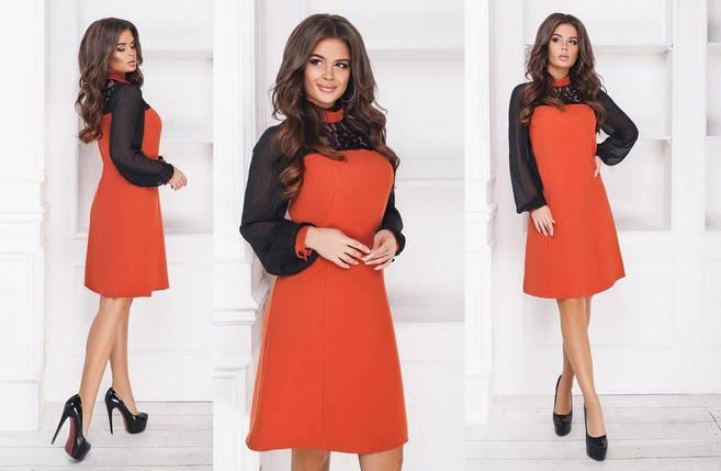 """Нарядное женское платье с рукавчиками из шифона, ткань """"Костюмная"""" 54 размер, фото 2"""