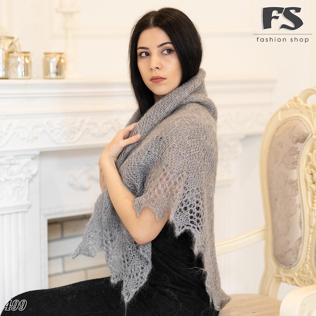 Серый оренбургский пуховый платок Аврора 120 см