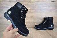 Женские зимние ботинки в стиле Timberland черные, фото 1