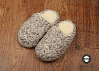 Комнатные тапочки, тапочки из овчины, серые шерстяные тапочки, размер 35-36