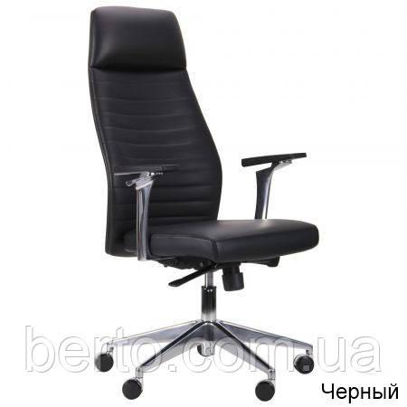 Кресло офисное металлическая крестовина/кожа Ilon HB Black