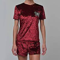 Женская пижама шорты/футболка мраморный велюр M-7005 бордо