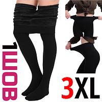 Колготы женские тёплые с мехом СОФИА 006  чёрные 3XL 1 шов  ЛЖЗ-120428