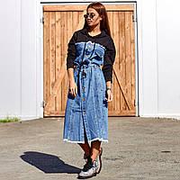 Женское платье джинсовое с капюшоном