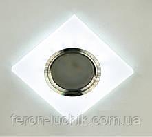 Точечный светильник с LED подсветкой встраиваемый матовый белый квадратный MR-16 GU5.3 17870S