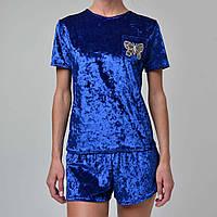 Женская пижама шорты/футболка мраморный велюр M-7015 электрик, фото 1
