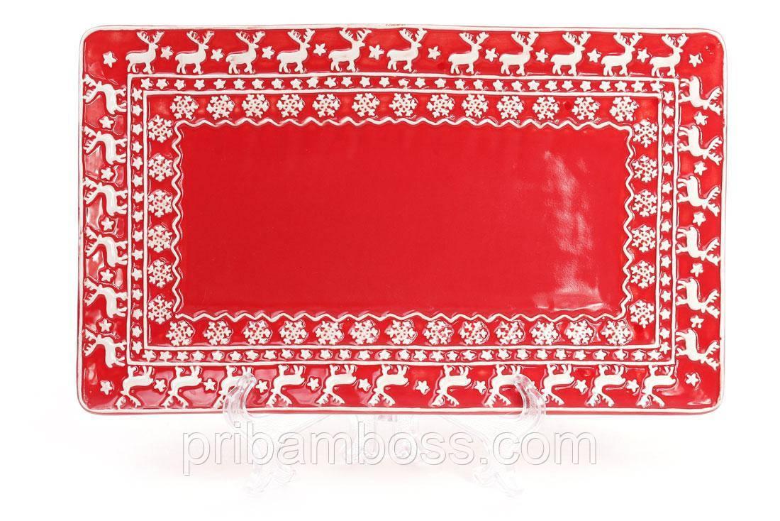 Блюдо керамическое новогоднее прямоугольное 30см, цвет - красный с белым