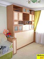 Откидная кровать горизонтальная трансформер вмонтированная в стенку для детской, фото 1