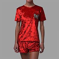 Женская пижама шорты/футболка мраморный велюр M-7035 красная, фото 1