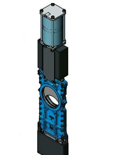 Шиберно-ножевая задвижка со сквозным ножом, корпус чугун, пневмопривод DN350 PN 10 Серия L CMO