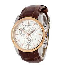 Наручные часы Tissot T-Classic Couturier Chronograph Brown-Gold-White, элитные часы Тисот, реплика ААА