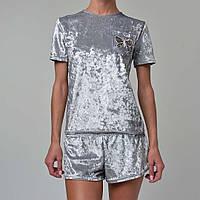 Женская пижама шорты/футболка мраморный велюр M-7045 серебро, фото 1
