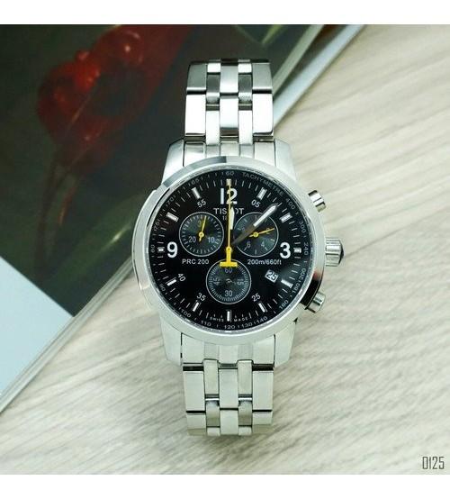 Наручные часы Tissot T-Sport PRC 200 Chronograph Silver-Black-Yellow, элитные часы Тисот, реплика ААА