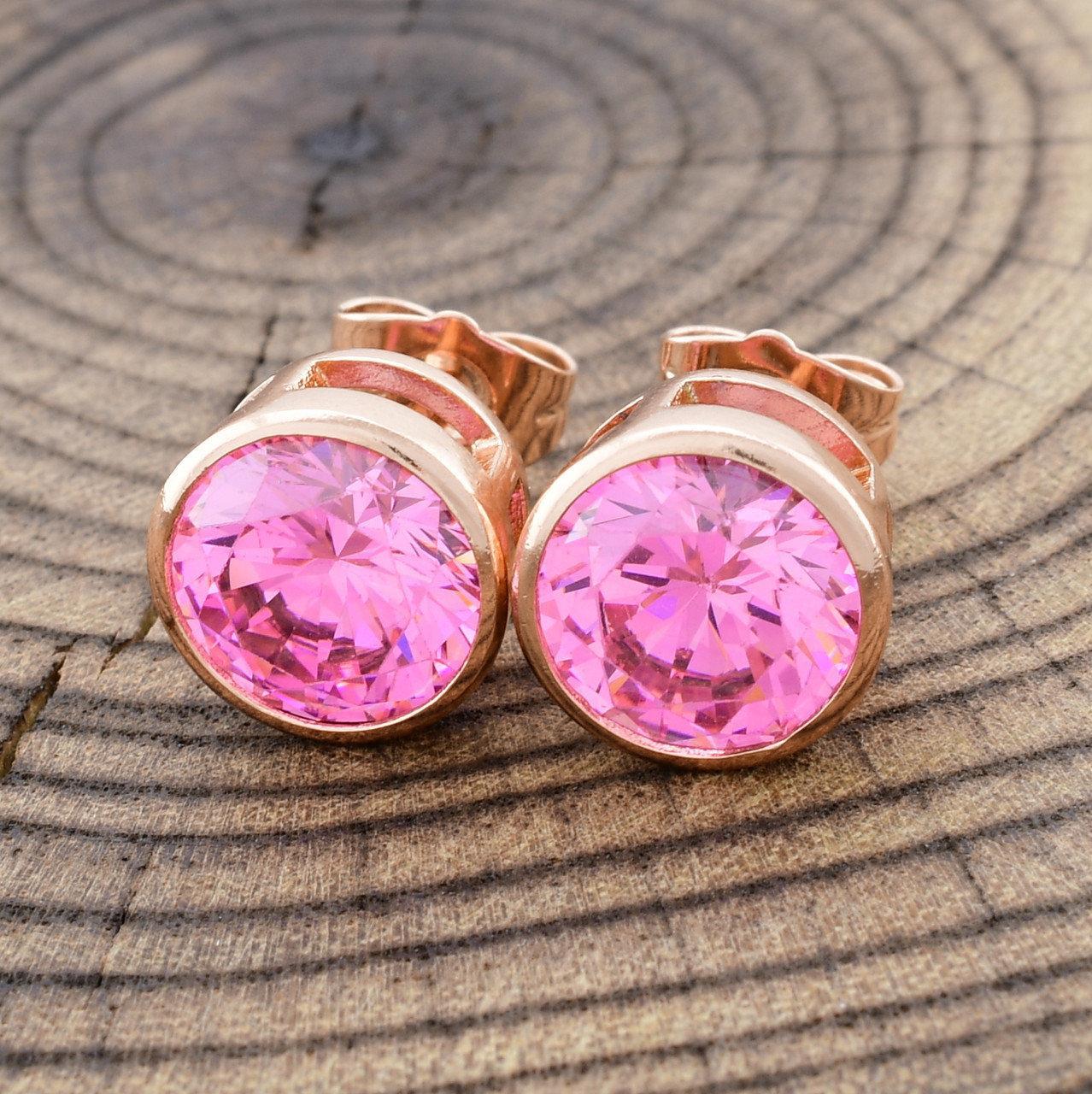 Серьги-гвоздики пуссеты розовые фианиты, позолота