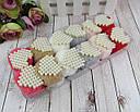 Гумки для волосся хутряні помпони з перловими сердечками 12 шт/уп., фото 2