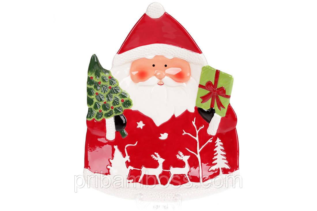 Новогоднее сервировочное блюдо Санта с подарками, 33см