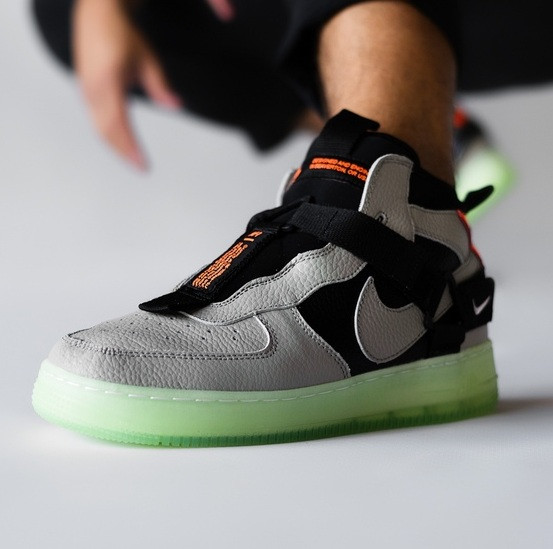Мужские кроссовки Nike Air Force 1 High Neon Yellow Green 40-45рр. Живое фото (Реплика ААА+)
