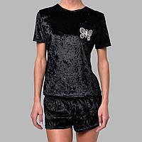 Женская пижама шорты/футболка мраморный велюр M-7055 черная, фото 1