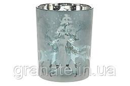 Подсвечник стеклянный с рисунком Олени, цвет - морозный синий, 12,5см